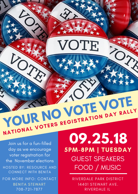 Join us September 25th as we encourage voter registration for the November elections.
